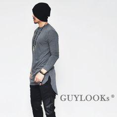 Avant-garde Design Unbalance Cut Mens Long Sleeve Round Crew T-shirt Tee Guylook