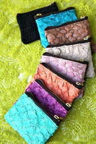 Fish leather and italian leather scraps coin/Id purses