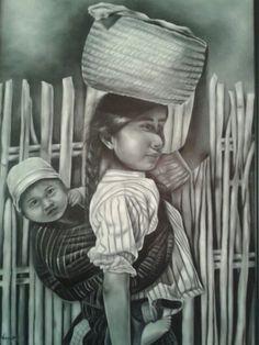 """Niña Mazahua"" óleo, autor : Maria Noemi"