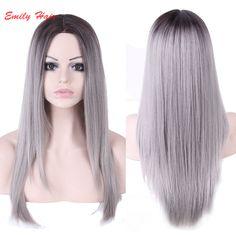 2016ロンググレーかつら安い良い品質かつら黒人女性のコスプレ合成ストレートヘア·ベリーウィッグ