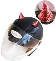 3T-SISTER Helmet Horns Women Girls Cute Horns Mohawk for Motorcycle Bicycle Ski Helmets Halloween Party Cosplay Wig Helmet Accessory Decorations Velcro Reusable Design