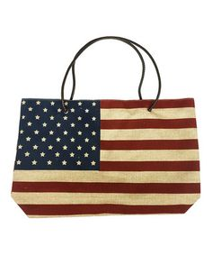 Oatmeal American Flag Tote Bag