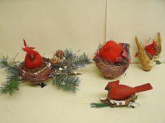 Pequeño árbol de Navidad Decoración Robin Rojo Marrón De Colección Colgante Pájaro Pájaro De Resina