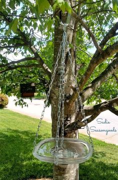 repurposed glass lid hanging bird bath, gardening, how to, outdoor living, repurposing upcycling