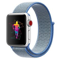 10 Vegan Apple Watch Band Choices That Are Comfortable & Functional - INTENY Sport Band Compatible for Apple Watch 42mm, Breathable Nylon Sport Loop, Strap Compatible for iWatch Series 3, Series 2, Series 1 (Tahoe Blue, 42mm)