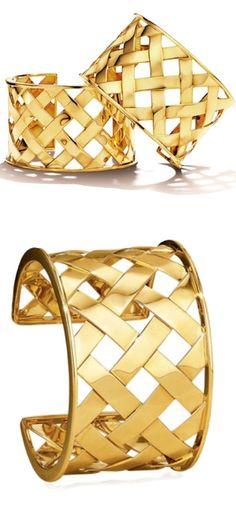 Verdura Yellow Gold Crisscross Cuff Bracelets 2015