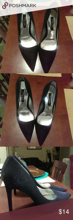 Shimmery Black Pumps Black shimmery 5 inch heels.. Like New Nina Shoes Heels