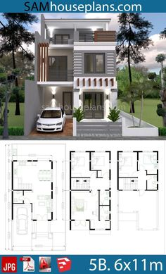 House Plans 6x11m with 5 Bedrooms Plot 8x16m Modern House Floor Plans, Narrow House Plans, Duplex House Plans, Dream House Plans, Dream Houses, 3 Storey House Design, Small House Design, Modern House Design, Home Building Design