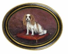 English School, 19th century -  A tole ware tray painted with a Cavalier King Charles Spaniel -  oil on metal,  20 1/2 x 26in. (52 x 66cm.)