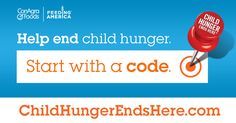I just donated a meal to help fight child hunger in America. Want to help out, too? It's easy—just look for the red pushpin on specially marked packages of ConAgra Foods products and enter the code online. It's grocery shopping for a great cause!