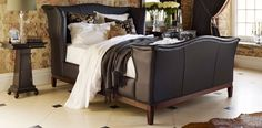 Churchill Leather Bed - Traditional Upholstered - Upholstered and Leather - Beds | AND SO TO BED