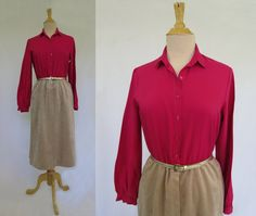 Hot Pink and Brown Velvet Shirt Waist Dress by LouisaAmeliaJane on Etsy
