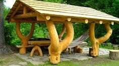 New 50 WOOD Creative Ideas for house 2016 - Interior and outdoor ideas P. Backyard Pavilion, Backyard Gazebo, Backyard Playground, Garden In The Woods, Home And Garden, Cool Sheds, Building A Pole Barn, Terrace Restaurant, Timber House