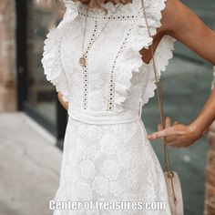 Lace dress casual - JaMerry Boho embroidery white lace women mini dress Hollow out sashes ruffled holiday summer dress Casual sexy beach dress vesti – Lace dress casual Summer Holiday Dresses, Casual Summer Dresses, Dress Casual, Casual Outfits, Casual Clothes, Girly Outfits, White Dresses For Women, White Women, Womens White Dress