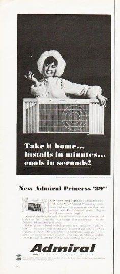 """Description: 1966 ADMIRAL AIR CONDITIONER vintage magazine advertisement """"Take it home"""" -- Take it home ... installs in minutes ... cools in seconds! -- Size: The dimensions of the half-page advertisement are approximately 5.25 inches x 13.5 inches (13.25 cm x 34.25 cm). Condition: This original vintage half-page advertisement is in Excellent Condition unless otherwise noted."""