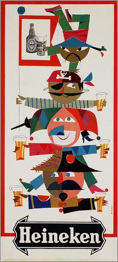 ♥1955 Heineken Beer Poster, Poster Ads, Advertising Poster, Vintage Advertisements, Vintage Ads, Vintage Graphic, Beer Advertisement, Best Beer, Wine And Spirits