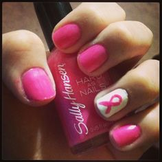 Race for the Cure nails! Breast cancer awareness!