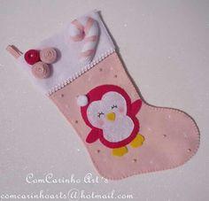 Botinha, meia, bota em feltro de natal