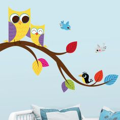 Cute Mom and Baby Owls on a Branch - modern - decals - - by Dali decals