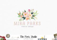 watercolour wedding florist logo by j u s t m y t y p e pinterest. Black Bedroom Furniture Sets. Home Design Ideas