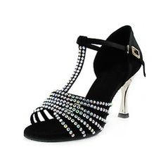 Dance Shoes - $98.99 - Satin Heels Sandals Latin Ballroom Dance Shoes With Rhinestone T-Strap http://www.dressfirst.com/Satin-Heels-Sandals-Latin-Ballroom-Dance-Shoes-With-Rhinestone-T-Strap-053013456-g13456