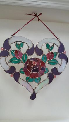 Gorgeous Heart Suncatcher A Gift That Lasts Forever Large image 0 Stained Glass Ornaments, Stained Glass Flowers, Stained Glass Suncatchers, Stained Glass Crafts, Stained Glass Designs, Stained Glass Panels, Stained Glass Patterns, Glass Art Design, Glass Wall Art