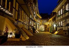 Half-timbered houses, cobbled streets at night, Gengenbach, Black Forest, Baden-Wuerttemberg, Germany, Europe - Stock Image