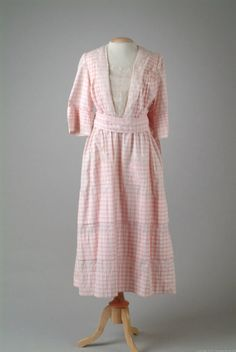 An adorable pink and white checked cotton summer day dress, 1917.