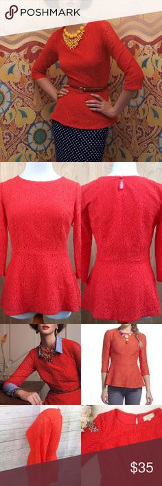 """MOULINETTE SOEURS Anthro Orange Lace Peplum Top Beautiful lace top from Moulinette Soeurs for Anthropologie. Style No. 25443623. 3/4 length sleeves, scoop neck, peplum style, keyhole button back and zippered side. Good condition, but light fading from wear, and about a 2"""" year of liner from zipper, but not noticeable. Cotton/nylon blend, polyester liner. Hand wash. Approx flat meas: length 25"""", sleeve 16.5"""", bust 17"""", waist 13.5"""", bottom 23"""", shoulders 14"""" Anthropologie Tops"""