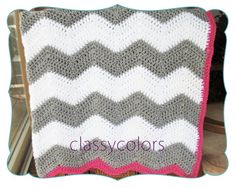 RESERVED FOR VERONICA : white and grey chevron crochet baby blanket with raspberry pink edge. $55.00, via Etsy.