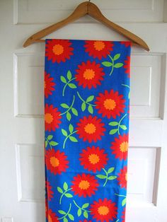 Vintage 60s Flame Red Daisy Flower Fabric Super by CuteBrightFun