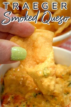 This Traeger Smoked Queso goes together in minutes and takes your favorite cheesy appetizer to a whole new level! This is all the rage around Facebook so I had to try it for myself. Quick And Easy Appetizers, Yummy Appetizers, Appetizer Recipes, Dinner Recipes, Traeger Recipes, Grilling Recipes, Cooking Recipes, Smoker Recipes, Pellet Grill Recipes