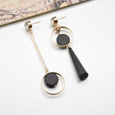 Asymmetry Gold Color Rhinestone Long Earrings - T-special.com