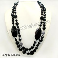 Fashion gemstone necklace, 12mm, 14mm, 16mm faceted round black onyx beads, 5mm round metal beads, 14mm round rhinestone zinc alloy beads in...