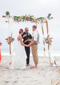 Carlsbad CA beach wedding chuppah decoration