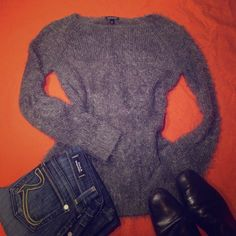 TOP SHOP TEXTURED (hairy:)) sweater So soft, textured, cool, grey. Perfect for the winter. 80% acrylic, 20% nylon. Pit to pit - approximately- 17.5, length - approximately - 27. Size 4. Topshop Sweaters Crew & Scoop Necks