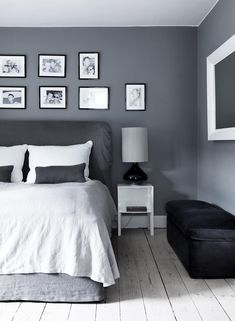 Grey bedroom - could add a splash of teal or lime to bring it up-to-date! Really nice idea and love the colour scheme, but could maybe soften the grey a little so it's not so harsh. Love the white bedding and black-framed photos.