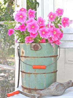Vintage Green Old Fashioned Ice Cream Maker - New Life Planter