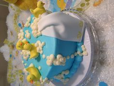 Rubber Ducky baby shower cake by Mostly Cupcakes, Dallas, TX