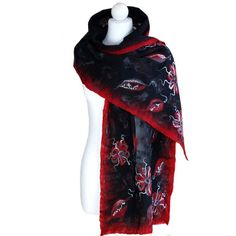 Nunofelted scarf flowers red and black unique handmade by ArtMode