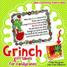 in third grade : Grinch Printable Gift Labels for Candy Canes