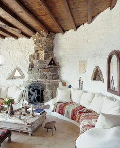 Country rustic villa for rent in Mykonos Interior Flat, Home Interior, Interior And Exterior, Interior Design, Design Room, Modern Interior, Turbulence Deco, Earth Homes, Design Case