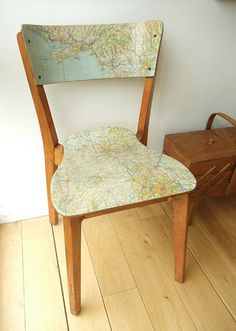 Decoupage an old chair with an old map