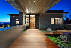 Entrance, Harrison Street Residence by Scott Allen Architecture- key feature- wood deck, ceiling, succulent garden