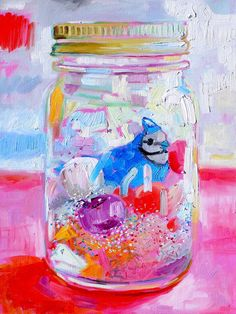 A painting by Margaret Owen, of Permanent Magenta.  She is a friend of my stepsister's and I just love this painting; it is so happy and pretty!  The model for the painting is a snow globe made by my niece.  Such an artsy group!