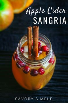 Apple Cider Sangria {Holiday Drinks} – Savory Simple This Apple Cider Sangria is a fragrant, delicious holiday cocktail. It's beautiful, and it comes together in no time. Your friends and family will love it! Caramel Apple Sangria, Apple Cider Sangria, Caramel Vodka, Cranberry Juice, Holiday Sangria, Fall Sangria, Holiday Cocktails, Summer Cocktails, Vodka Sangria