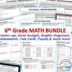 6th GRADE COMMON CORE MEGA-BUNDLE Includes 43 of my top selling resources (over 410 pages of warm-ups, task cards, error analysis worksheets, problem solving graphic organizers, homework practice worksheets, mazes, riddles, coloring activities). Perfect for warm-ups, math stations, assessments, homework, exit tickets and test prep. Common Core aligned Number System (6NS), Ratios and Proportional Reasoning (6RP), Expressions and Equations (6EE), Statistics and Probability (6SP), Geometry (6G)
