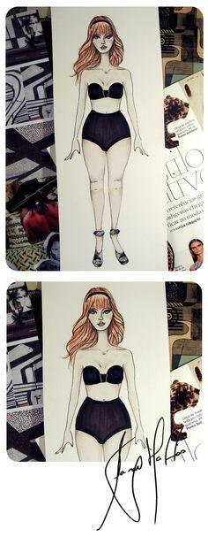 Fashion Ilustration for Carolina Davila Kramer (Brazilian Fashion Designer) by Sany Mattos