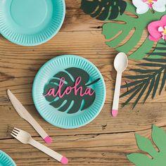 6 décorations en papier Aloha