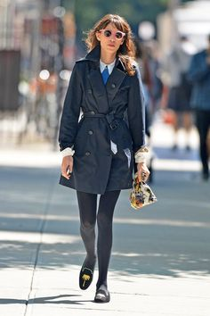 Alexa Chung Photos - Alexa Chung shows her love for the color navy, while out and about in the East Village in New York City. Chung is a British television presenter and is currently a contributing editor for British Vogue. - Alexa Chung in Navy Navy Trench Coat, Trench Coat Outfit, Alexa Chung, Style Icons, Cool Girl, Cool Outfits, Women Wear, Celebs, How To Wear